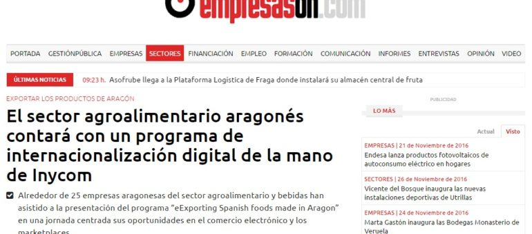 "EMPRESAS ON. Fernando Aparicio participa en el programa ""eExporting Spanish foods made in Aragon"""